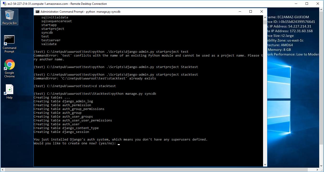 enter - python manage.py syncdb