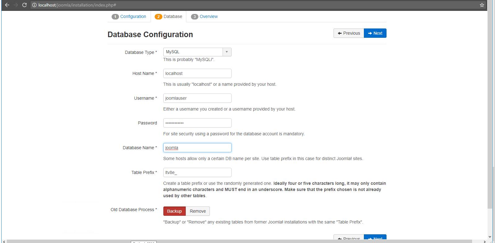 enter details for database configuration