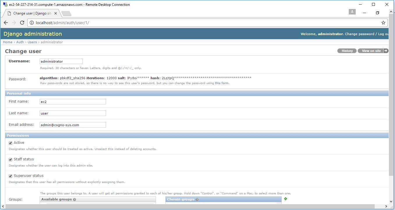 enter details in django admin screen