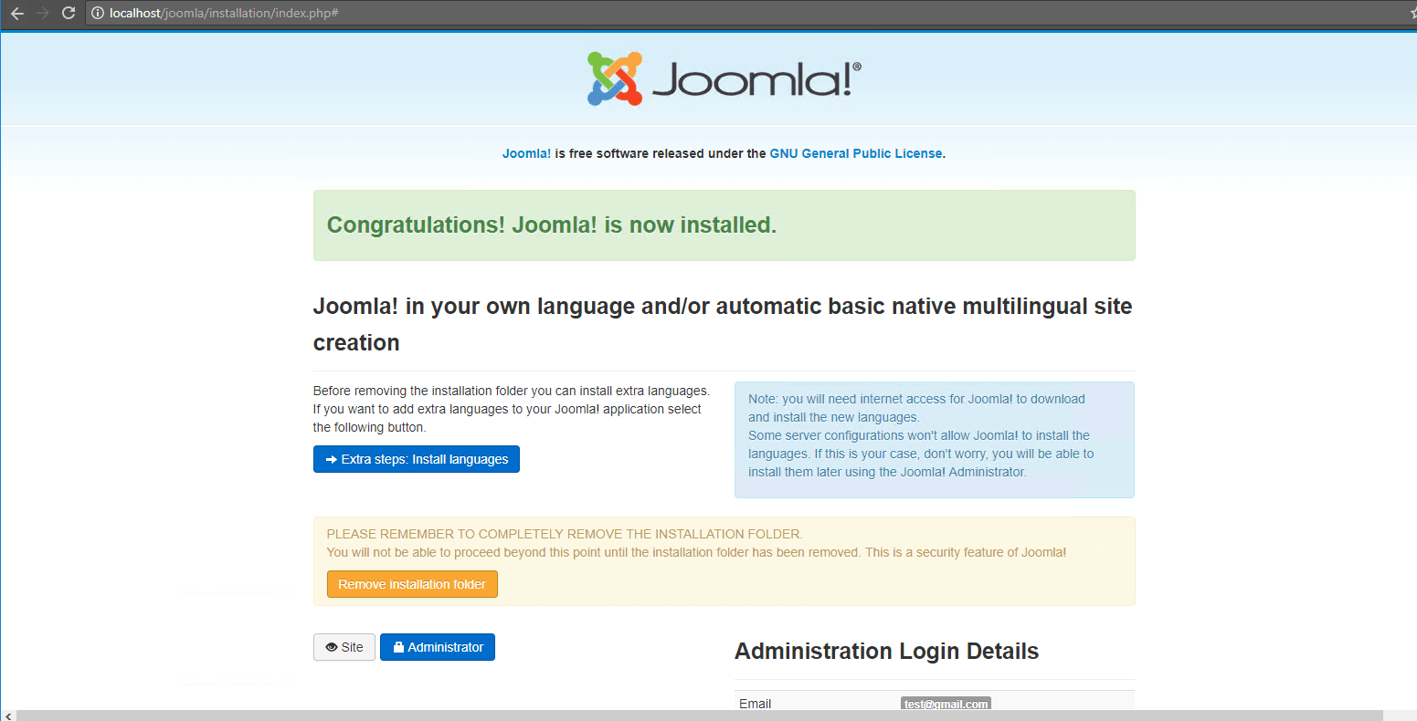 19. joomla installed