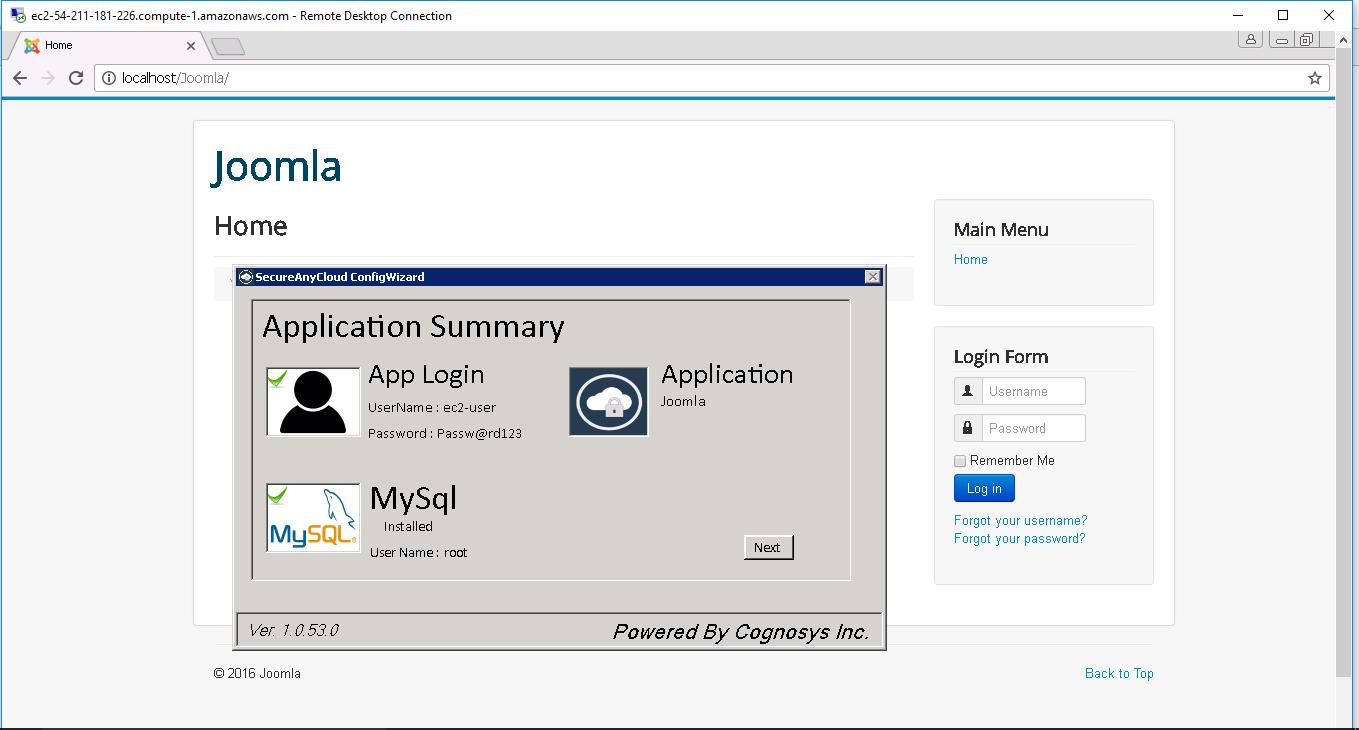6. application summary window