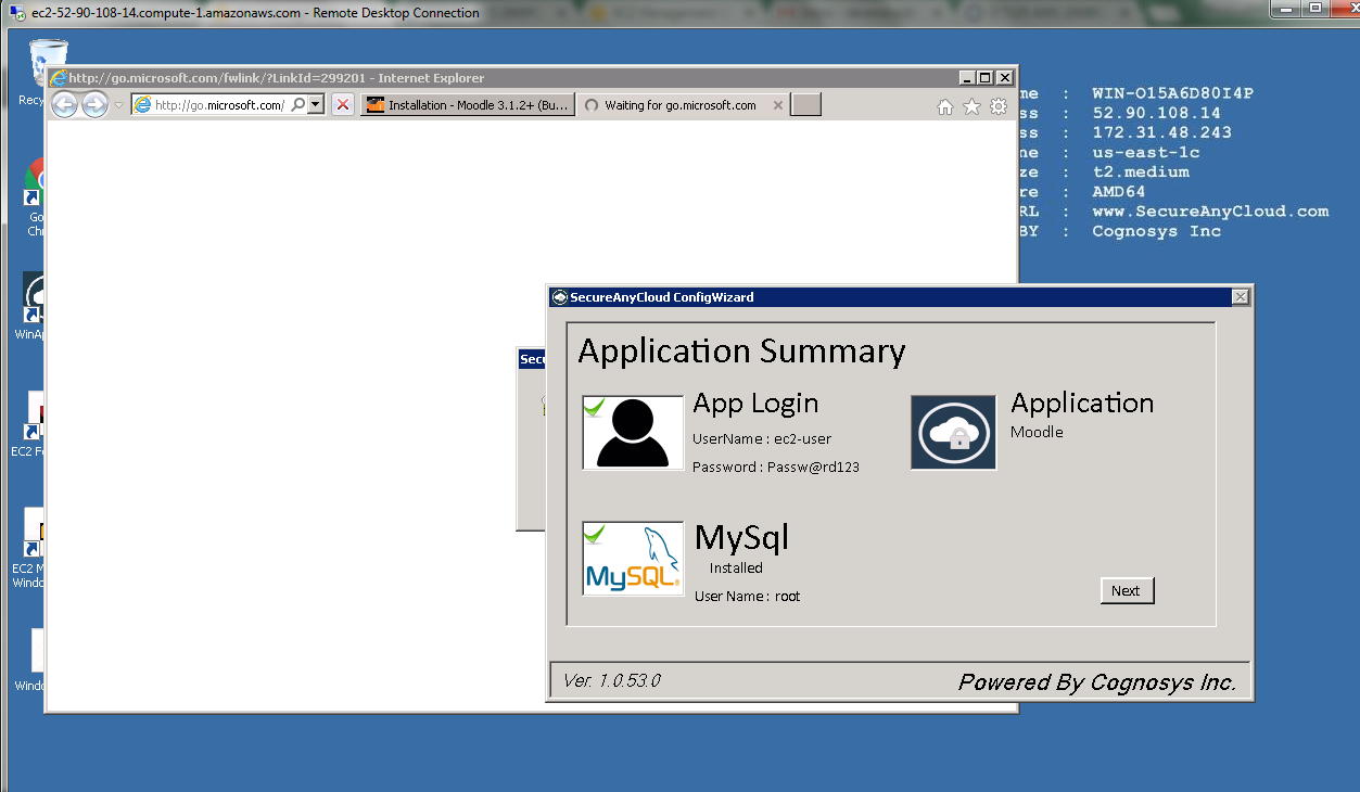 application summary for app login mysql