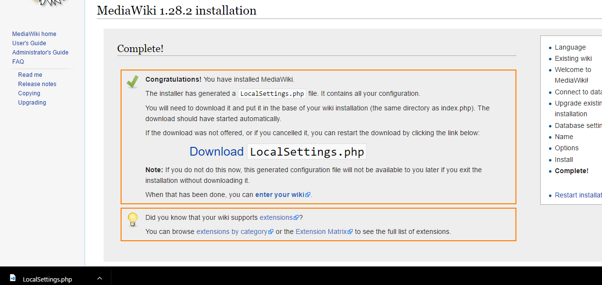 mediawiki installation completed