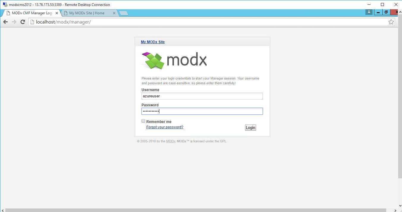 enter credentials in login window