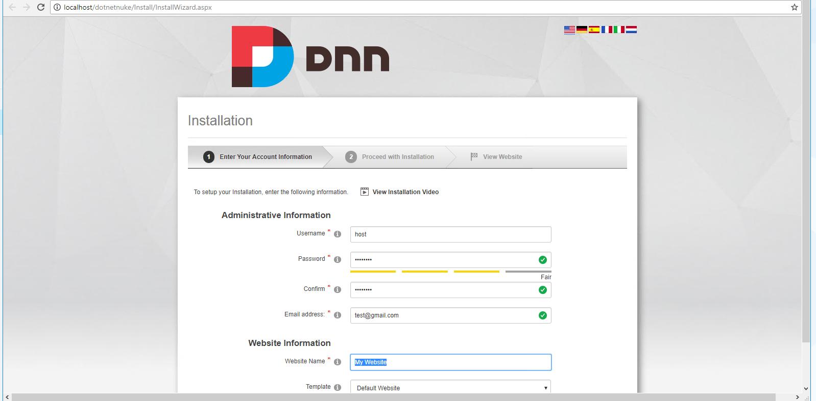 enter details for installation of dnn platform