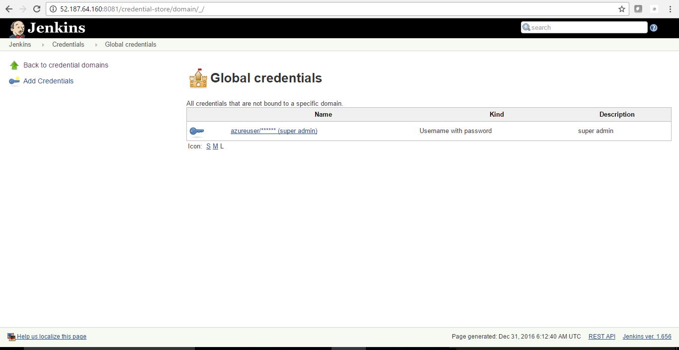 credentials screen