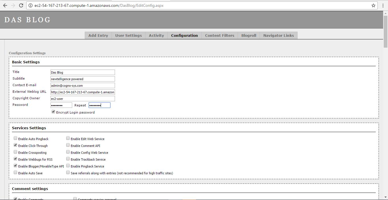 enter details in configuration window