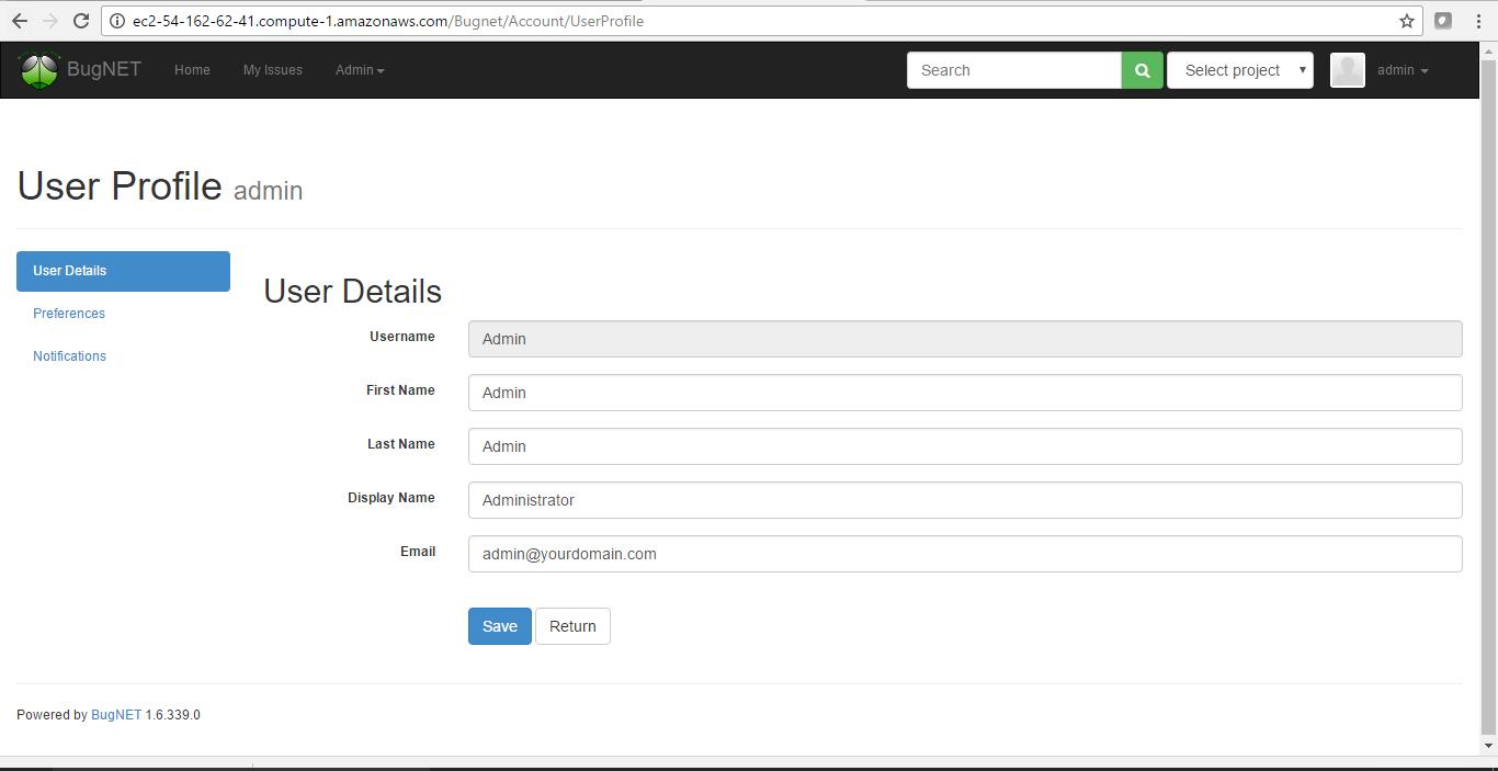 fill user details