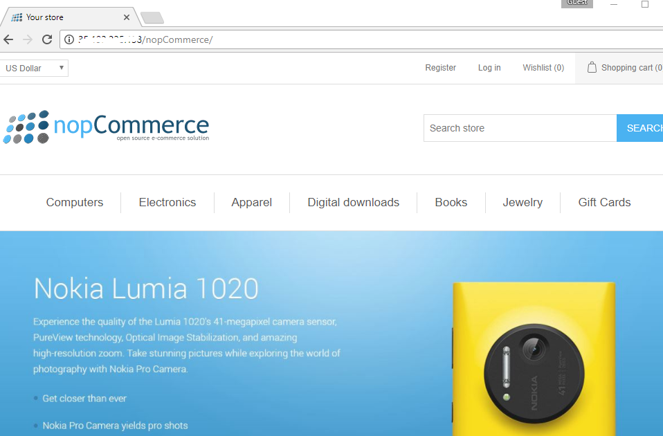 product page with features