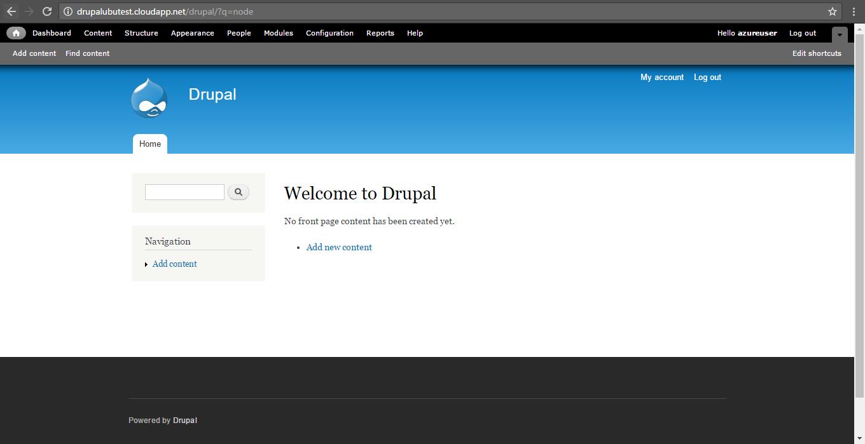 drupal home screen