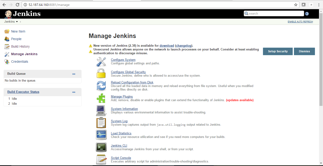 manage settings in jenkins