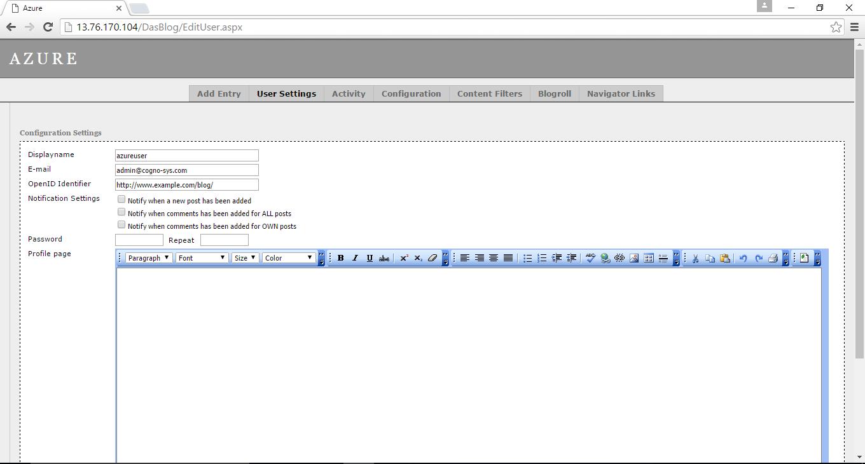 fill details in user settings window