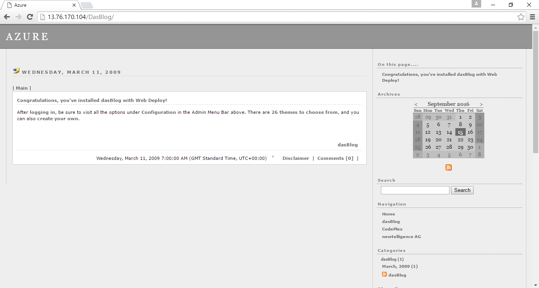 das blog dashboard on azure