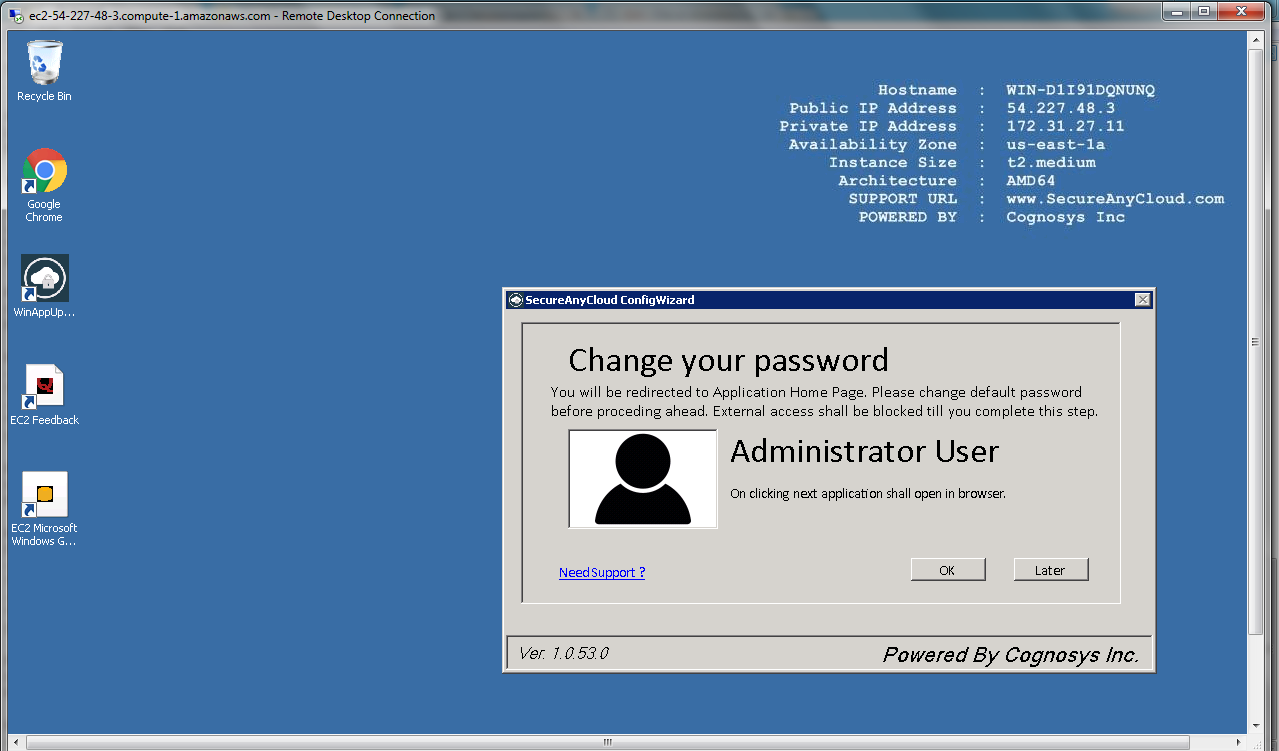 confirming after changing password